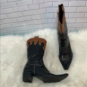 Davos Gomma VTG Black/Brown Cowboy Boot Sz 37.5/7